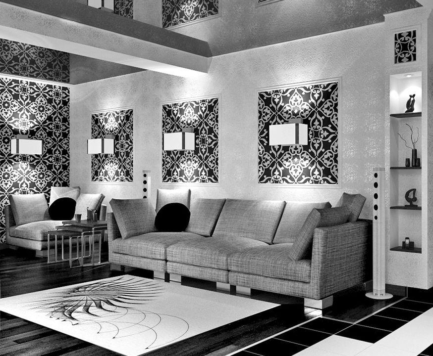 Зал черно-белый интерьер фото